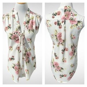 J for Justify Sleeveless Sheer Floral Blouse